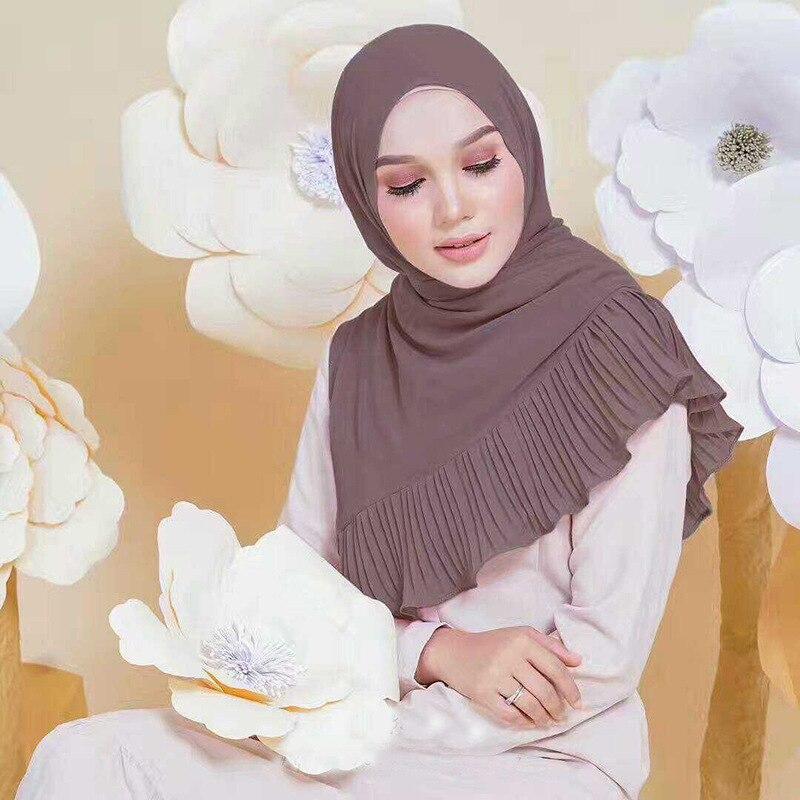 2018 Women Islam Maxi Crinkle Cloud Hijab   Scarf   Shawl Muslim Long Shawl Stole   Wrap   Chiffon Plain   Scarf