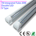 1Pcs LED T8 integrated tube 20w 110v 220v 60cm 85-265v Double 2835 Led Bulb Lamp Clear Cover Free Shipping 2ft white/warmwhite