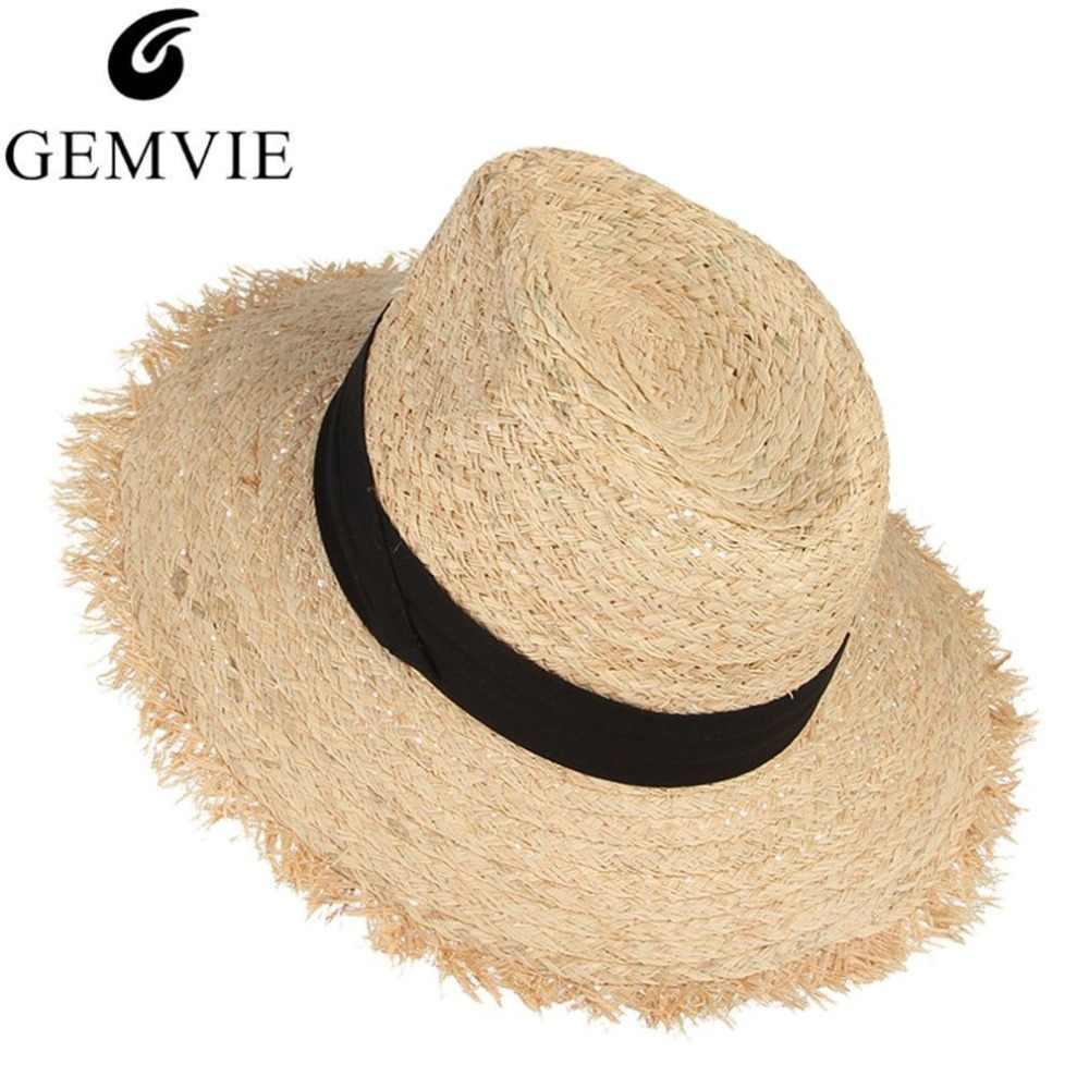 98fb67d0abc Summer Hats For Women Fringe Tassel Raffia Straw Hat With Black Ribbon  Foldable Large Brim Sun