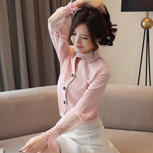 Spring 2019 New Style Long Sleeve women blouses Chiffon shirt lace V-neck shirt woman white blouse causal ladies tops 1891 50 4