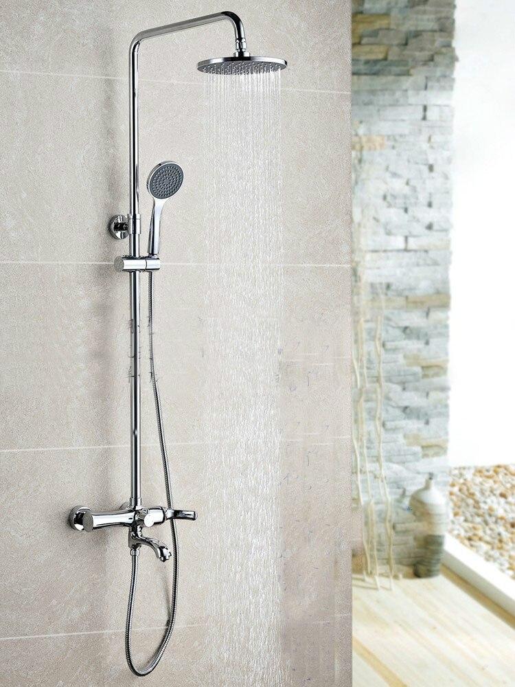 Ensemble de douche mural en laiton chromé pour salle de bain avec colonne de douche et pommeau de douche ABS