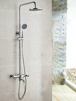 Wall Mounted Chrome Finished Rain Brass Bathroom Shower Set Shower Column Bath Shower Set with ABS Handheld Shower Head