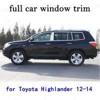 Toyota Highlander 2012 2013 2014 자동차 외장 액세서리 전체 창 트림 센터 필러가있는 스테인레스 스틸