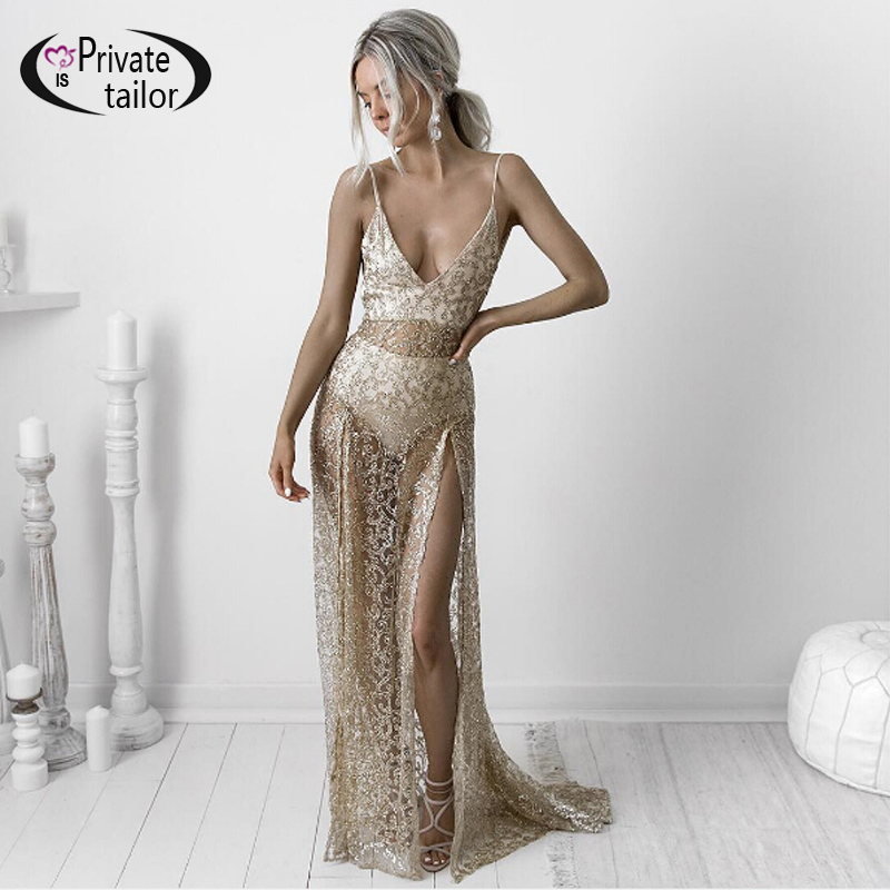 NATTEMAID 2017 Popular Mesh Sheer Maxi Dresses Embroidered Long Split  Sequined Dress Women Backless self portrait Sexy Dress-in Dresses from  Women s ... f9be35281082
