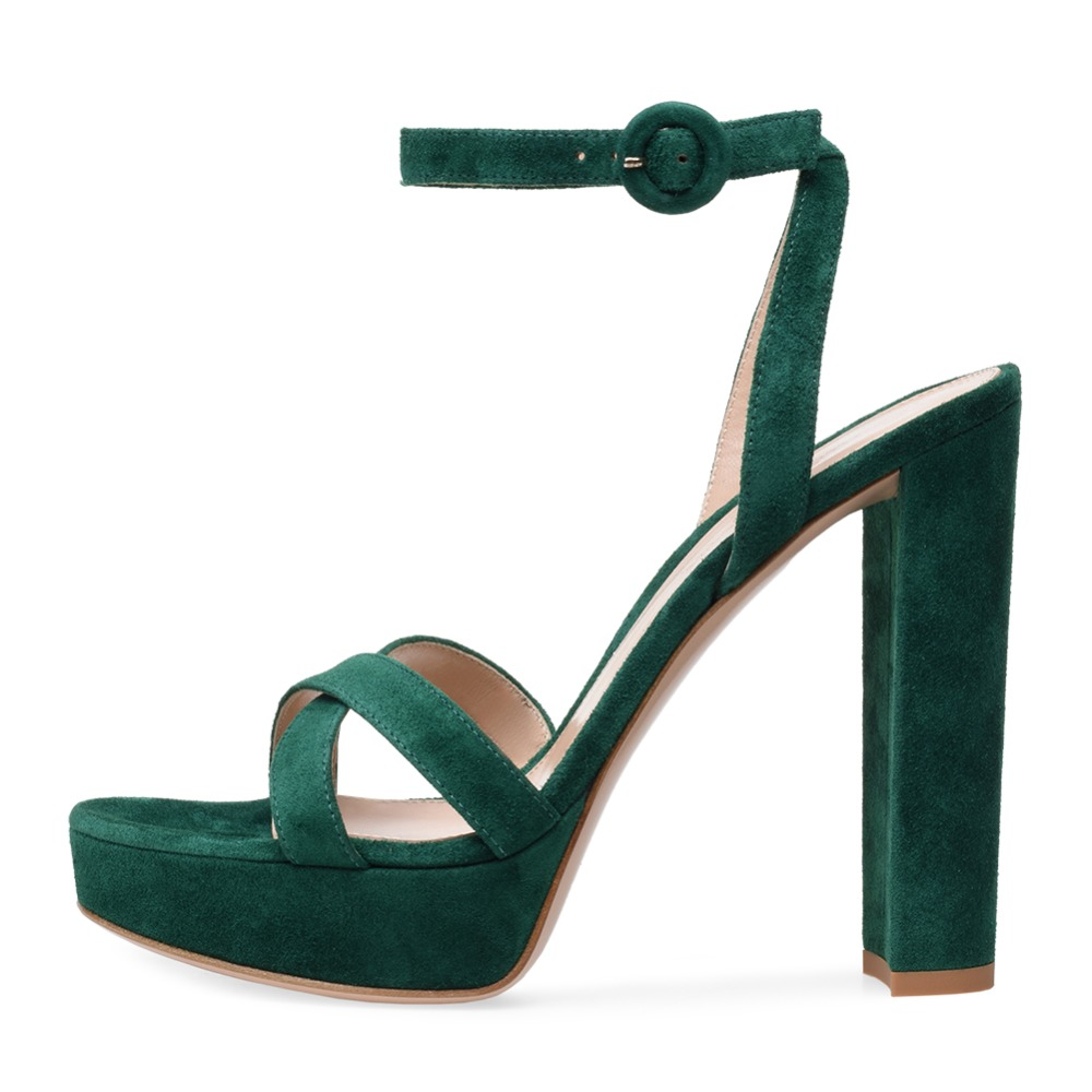 Open Toe Platform High Heel Green Faux Suede Sandals Women Pink Evening Dress Heels White PU Chunky Heel Summer Shoes 2018 elegant black suede faux fur ankle wrap stiletto heels dress sandals stylish women open toe zip platform super high heel sandals