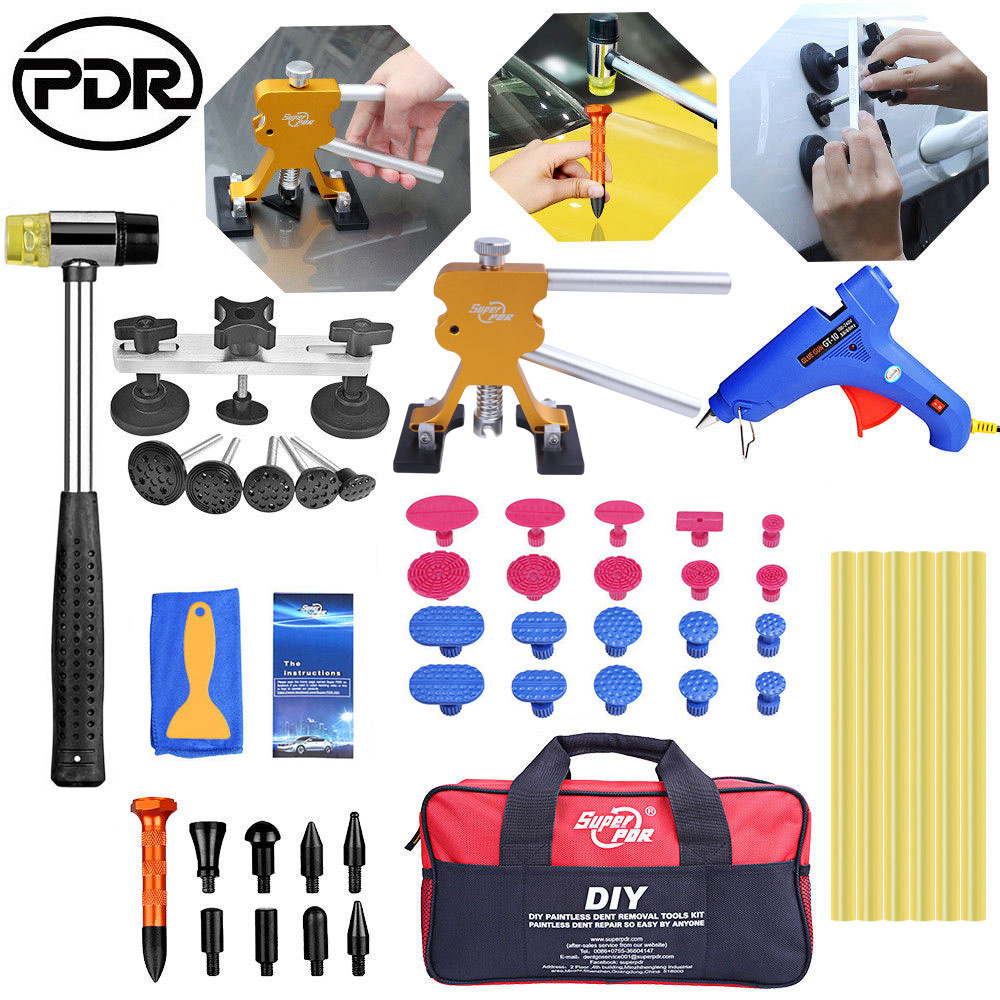 PDR Tools kit Dent Removal Paintless Dent Repair Tools Pulling Bridge Dent Puller glue gun rubber hammer pdr hand tool set pdr tools car dent repair tool kit paintless dent removal tool set pulling bridge green smile face dent puller glue tabs 20pcs