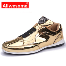 Allwesome Men Punk Rock Shoes High Top Gold Vulcanized Casual Flats Skateboard for Student Rubber Human Race