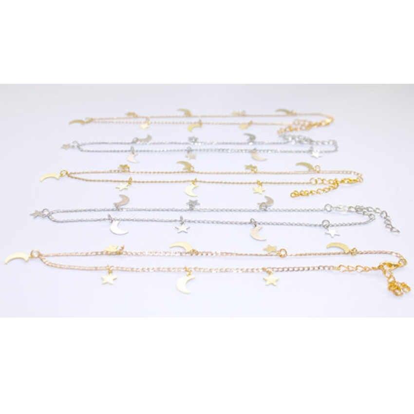 Femmes Double couche clavicule collier or argent couleur étoiles lune pendentifs colliers bohême Chokers pour dame déclaration bijoux
