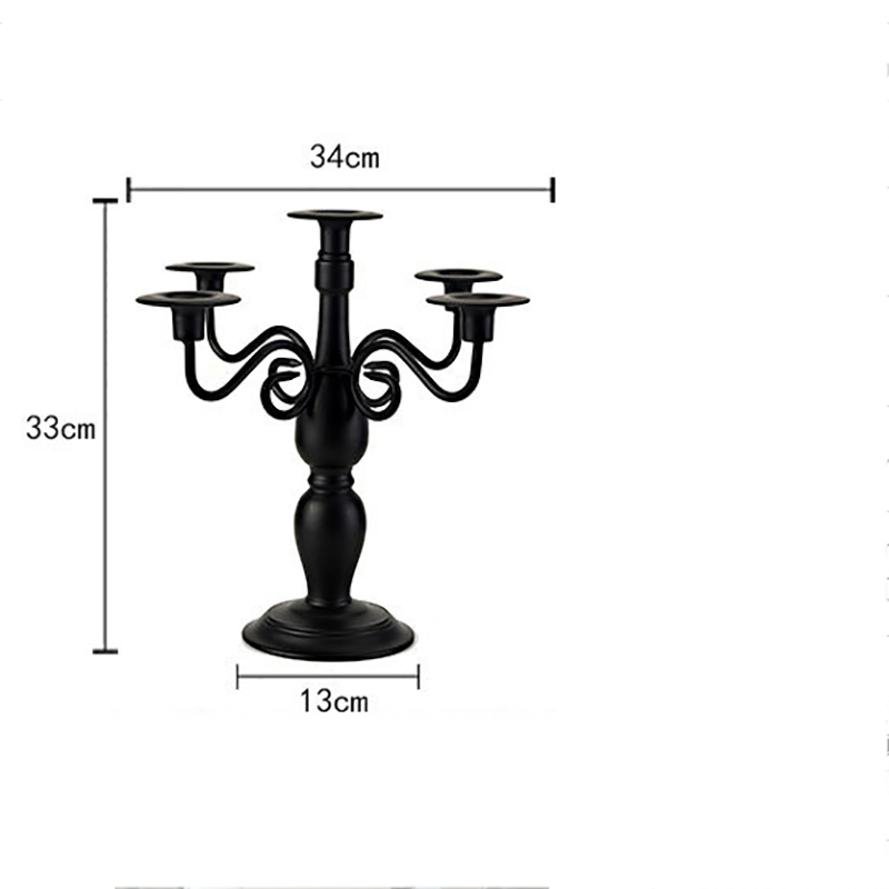 European Classical Palace Black White Five Iron Art Candlestick Romantic Wedding Candlestick Accessories Metal Candle Holder
