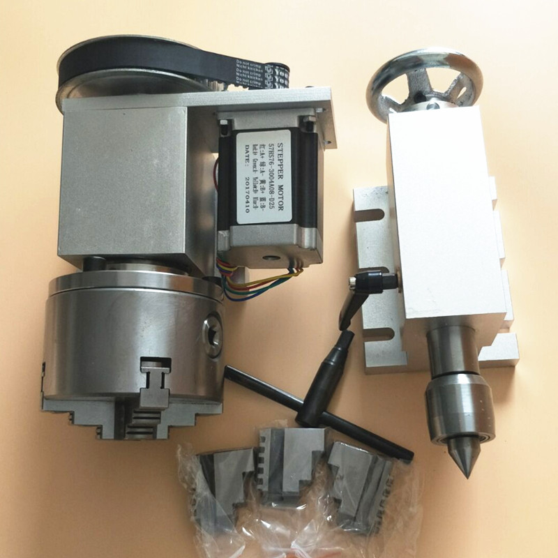 Nema 34 stepper motor (4:1) K12-100mm 4 Jaw Chuck 100mm CNC 4th axis A aixs rotary axis + tailstock for cnc router k12 100mm 4jaw four axis 4th axis 4 axis rotary axis rotation axis for the cnc router cnc engraving machine