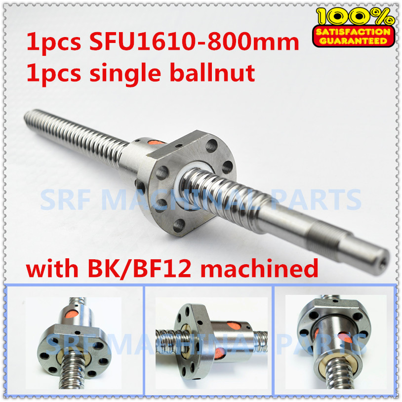 1pcs 16mm diameter Lead=10mm SFU1610 Rolled Ballscrew L=800 with SFU1610 ball nut for CNC part ballscrew sfu1610 l200mm ball screws with ballnut diameter 16mm lead 10mm