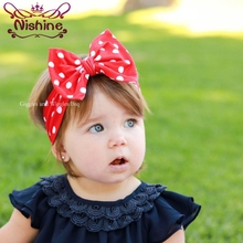 Nishine Dot Children Hair Band Girls Bowknot Headband Photography Props Kids Headwraps Hair Accessories Bandeau Bebe цена