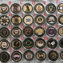 Макс. 5 шт./партия, отправка произвольного товара, пластиковая крышка Pokerstar металлический Техасский покерный чип, карты для покера, Защитный металлический значок для монет