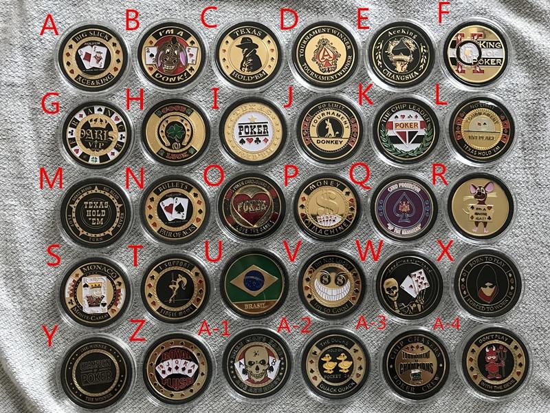 Max 5pcs/lot,Random shipment,Plastic Cover Pokerstar Metal Texas Poker Chip ,Poker Cards Guard Protector Metal Token Coin