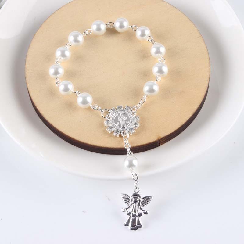 50pcs lot Religious Bracelet white Glass Pearl Imitation Rosary Children s Communion Baby s Baptism Favors
