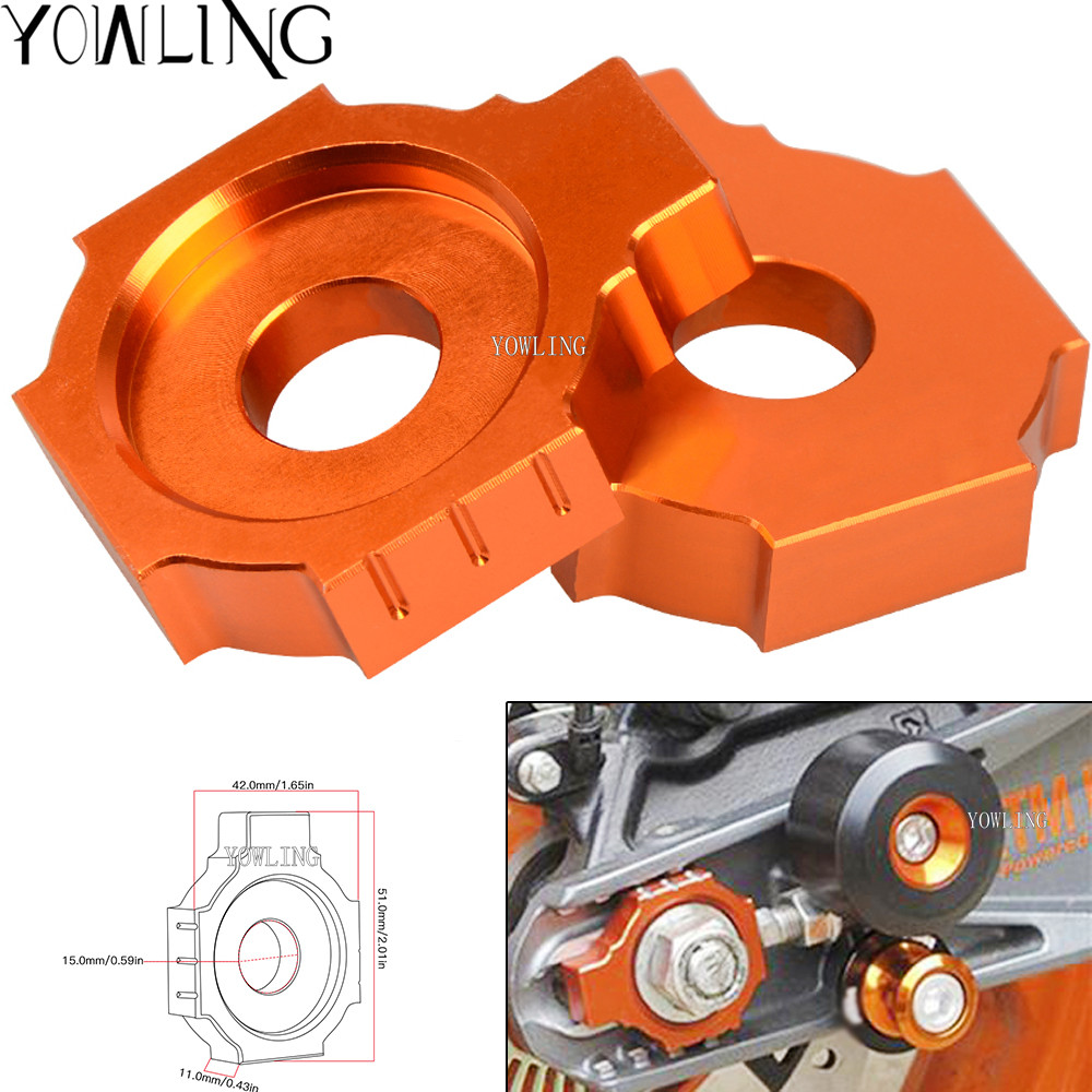 CNC Rear Axle Spindle Chain Adjuster Blocks for KTM Duke 125 200 390 Duke RC125 RC200 RC390 2011 2012 2013 2014 2015 2016 2017 image