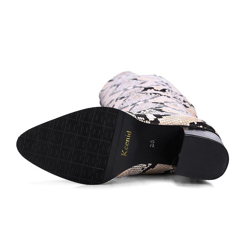 Die Über Patent Knie Slip Black Größe Heels Plus Schwarzes 48 Auf Platz Solid Print Spitz Stiefel 32 snake Schuhe Neue Winter Kcenid Frauen Kappe YX0qnX