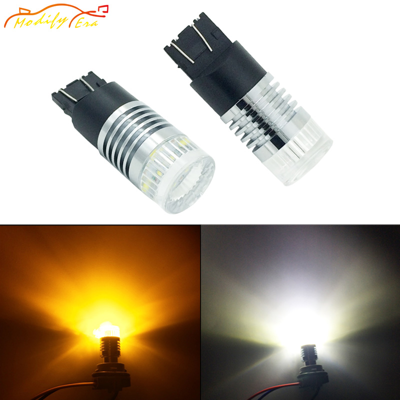 Modify.Era 2pcs 7443 7444NA T20 Car LED Bulbs Cree Chips For DRL Turn Signal Lights Dual-Color Switchback High Power Auto Lights