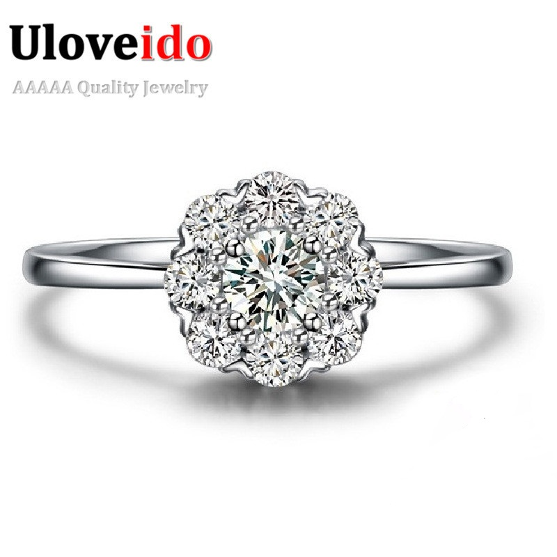 Uloveido Vintage Big Stone Anel Silver Color Wedding Rings for Women Charms Women's Ring Female Bijoux Flower Jewellery PJ002