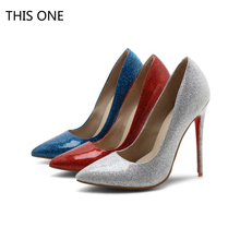 Women Pumps Bling High Heels Women Pumps Glitter High Heel Shoes Woman Sexy Wedding Shoes red blue Silver все цены