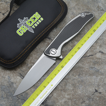 Green thorn 95 custom page folding knife M390 blade TC4 titanium CF 3D handle camping hunting Pocket EDC tools