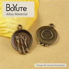 BoYuTe (50 Peças/lote) 17*15 MM Prato de Bronze Antigo Do Vintage Banhado Encantos Pingente de Jóias Diy Acessórios Peças atacado