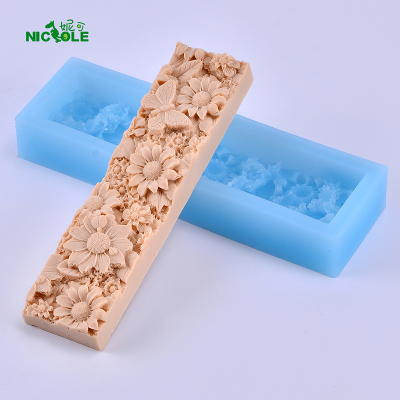 Nicole Flower Pattern Loaf Săpun Silicon Mould Plat dreptunghi Handmade Craft Mold