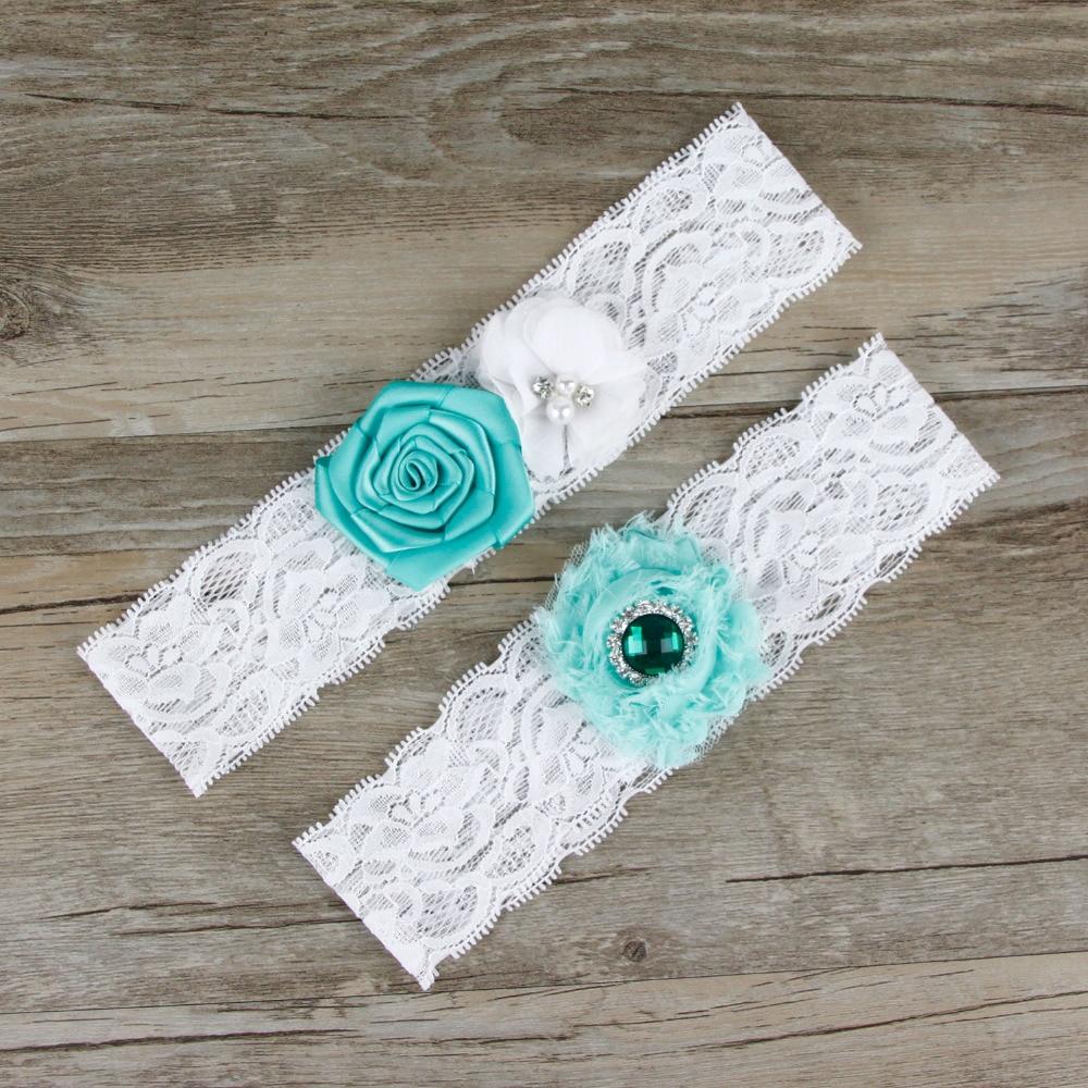 Vintage Lace Wedding Garter Set: 2pcs/Set Bridal Teal White Puff Flowers Beaded Garter Set