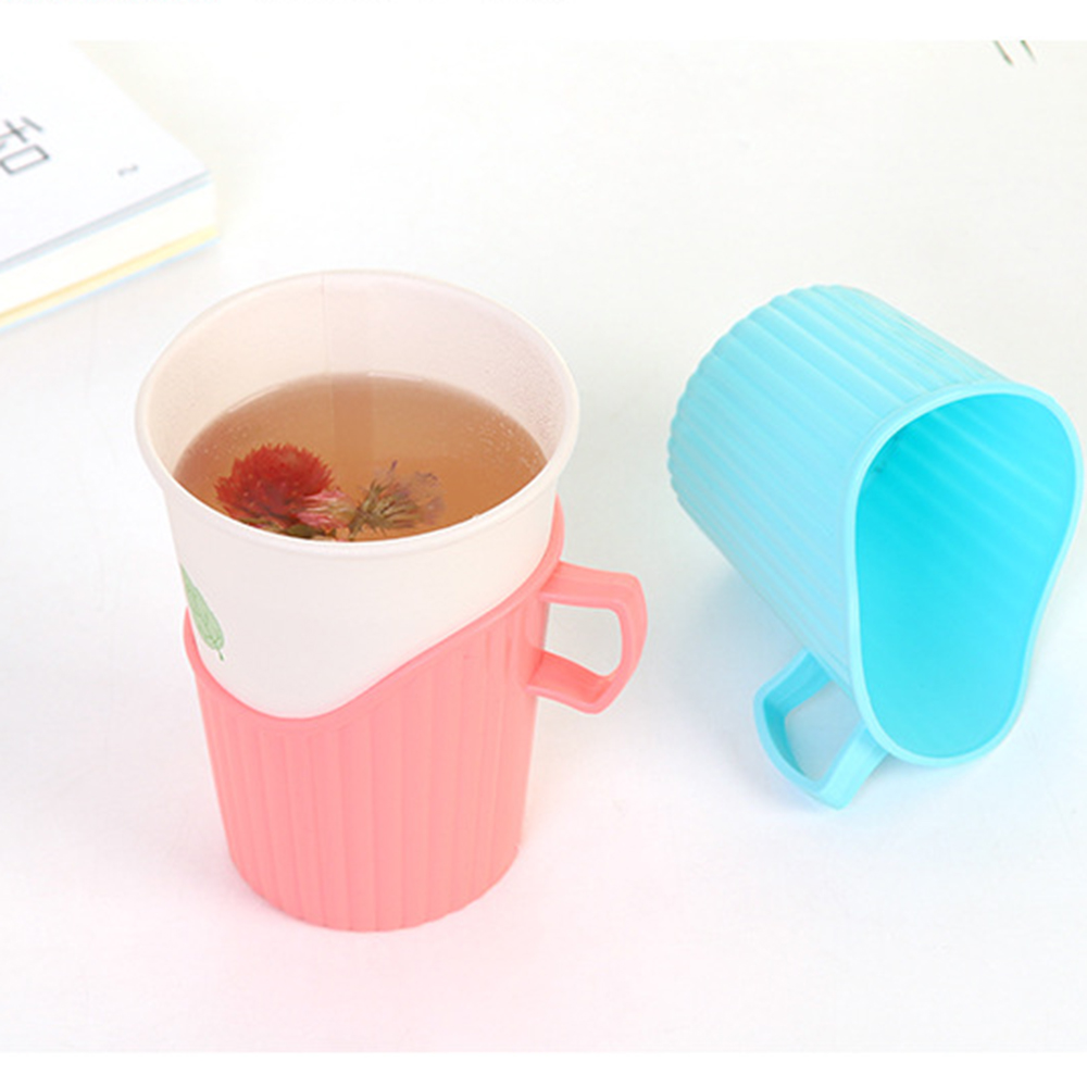 Hot Disposable Paper Cup Holder Plastic Anti-scalding Insulated Cup Holder Water Bottle Home Decor Accessories Party Supplies