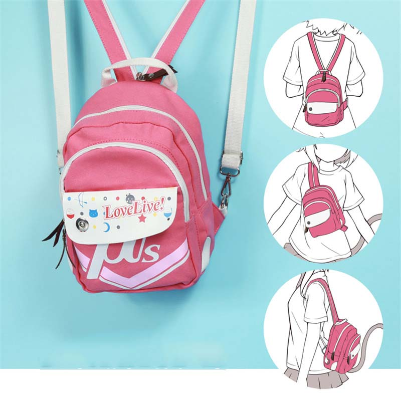 Lovelive Minami Kotori Pink Mini Backpack Satchel Female Casual Multifunctional Canvas Lolita Shoulder Bag Rucksack for Girls anime lovelive cosplay minami kotori cos2017 new japanese male and female middle school students big picture shoulder bag