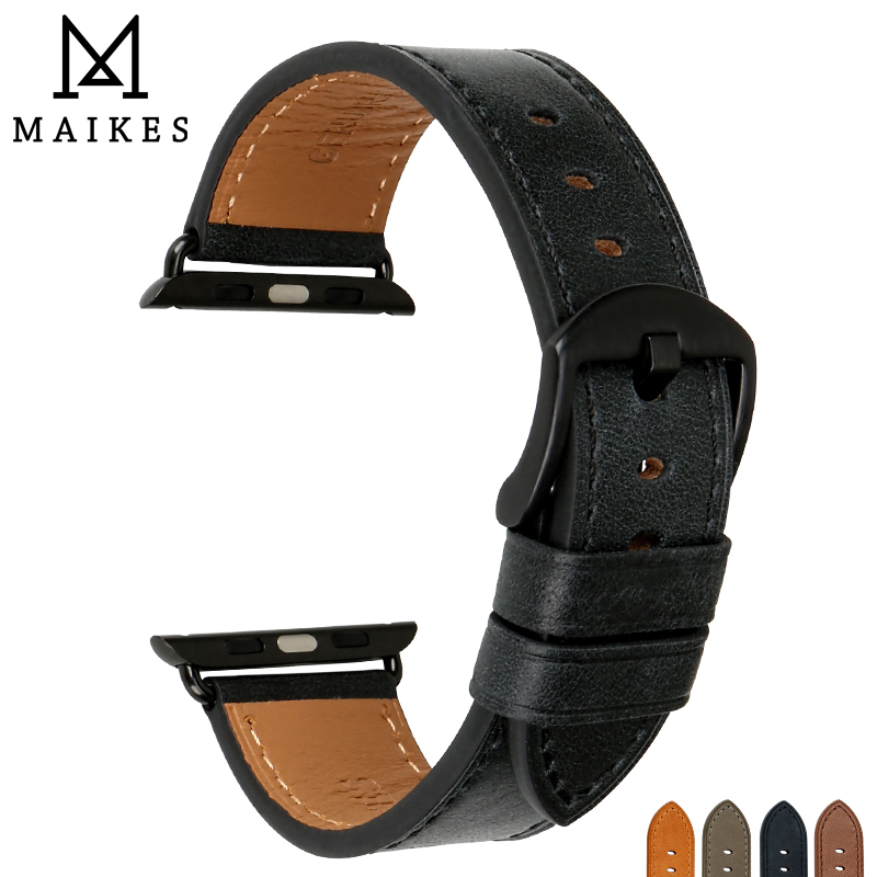 MAIKES New Quality Leather Watch Strap Black Replacement For Apple Watch Band 42mm 38mm Series 3 2 1 All Models iWatch Watchband цена