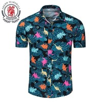 Men Hawaiian Shirt Animal Print Short Sleeve Tropical Dinosaur Button Down Beach Party Cotton Plus Size Shirts 56001