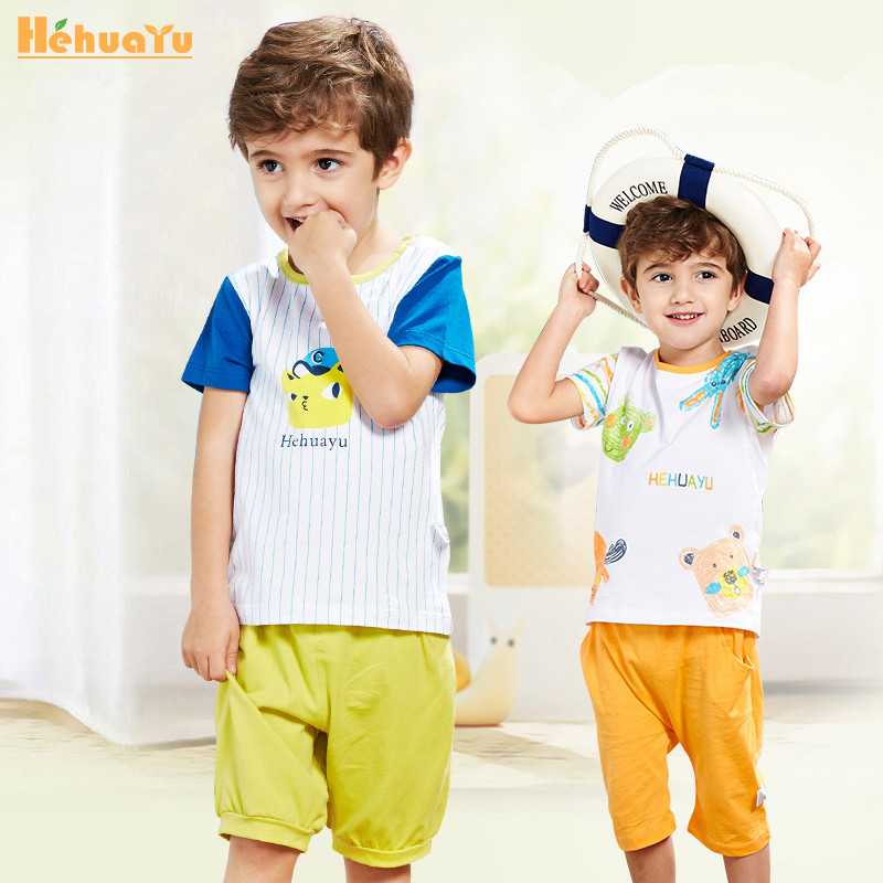 Baby boys girls kids clothing set children clothes cartoon cotton summer short sleeve sleepwear suits costumes 2 piece/ set 017 summer baby boys clothing set kids