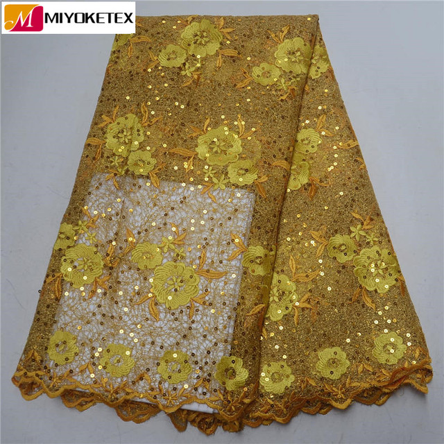 Stunning Design French Lace Fabric Golden Yellow With Shining Sequins African Water Soluble Lace Hot Sales For Party PSA493-1