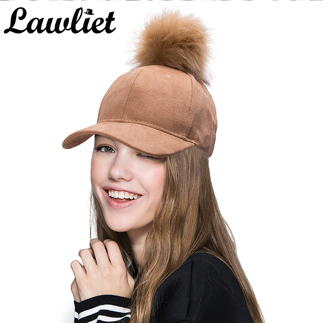Suede Baseball Cap Hip Hop Cap Faux Fur Pom Pom Bobble Hats for Women Girl  Adjustable 81920870b52a