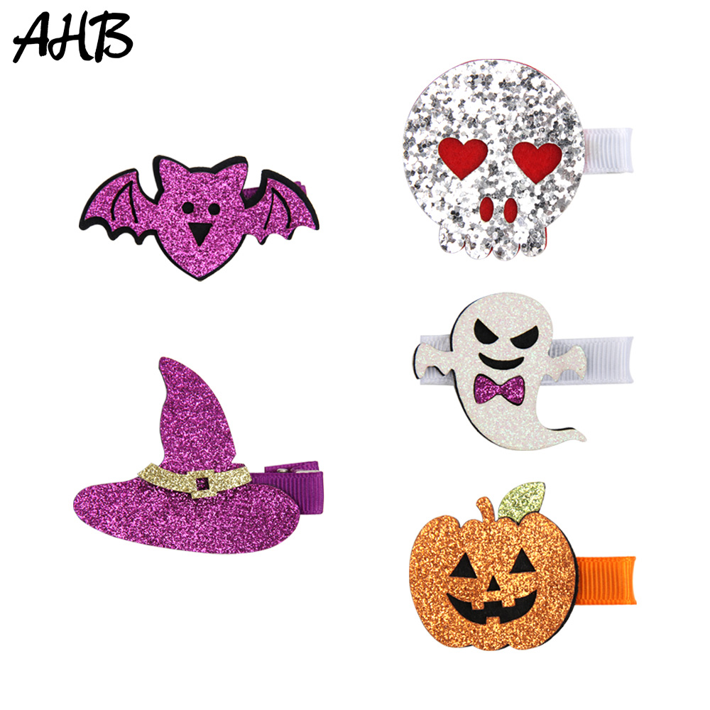 AHB Funny Glitter Hair Clips for Girls Fashion Barrettes Halloween Smile Pumpkin/Skull Party Props Hairpin Kids   Headwear
