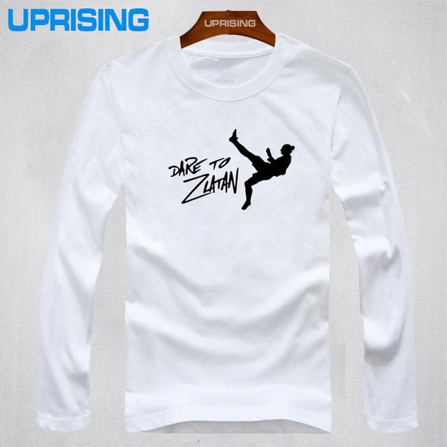 Top New Summer DARE TO ZLATAN Ibrahimovic T Shirts Men Swedish footballer Paris T-Shirt long Sleeve Cotton Mens Tops Tee