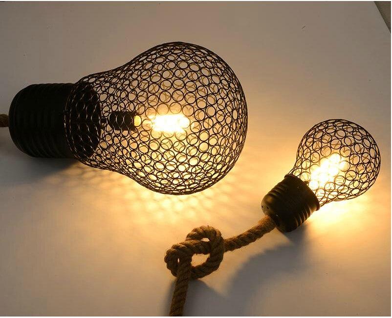 Vintage Seil Anhnger Licht Lampe Loft Kreative Persnlichkeit Industrielle Edison Birne American Style Fr