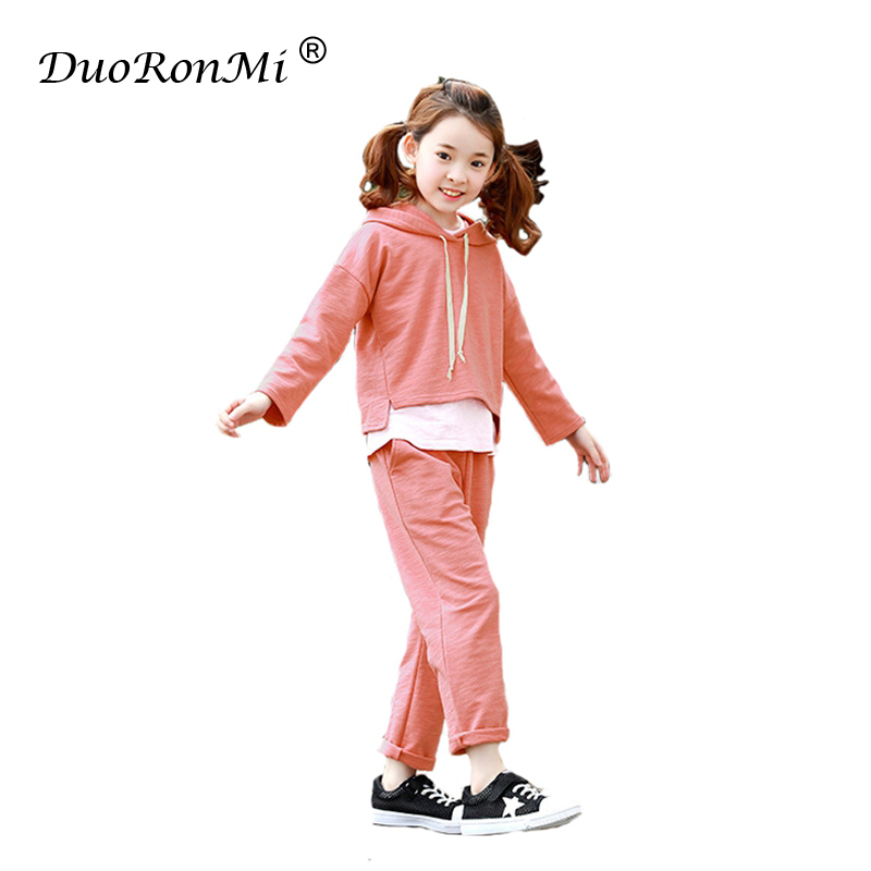Spring Tracksuit Girls Sports Suits Hooded Sweatshirts+Pants 2pcs Kid Girls Set 2018 Children Cotton Clothes Set 4-13 Years Old 2017 girls spring flowers suit girls clothes sprot hoodies set children clothing suits hooded jackets pants 2pc suits yl561