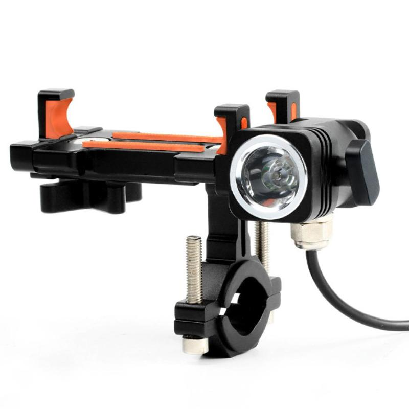 6063 T6 Universal Bicycle Phone Holder Motorcycle Bike Handlebar Clip Phone Stand GPS Mount Bracket with Lamp Bicycle Rack     - title=