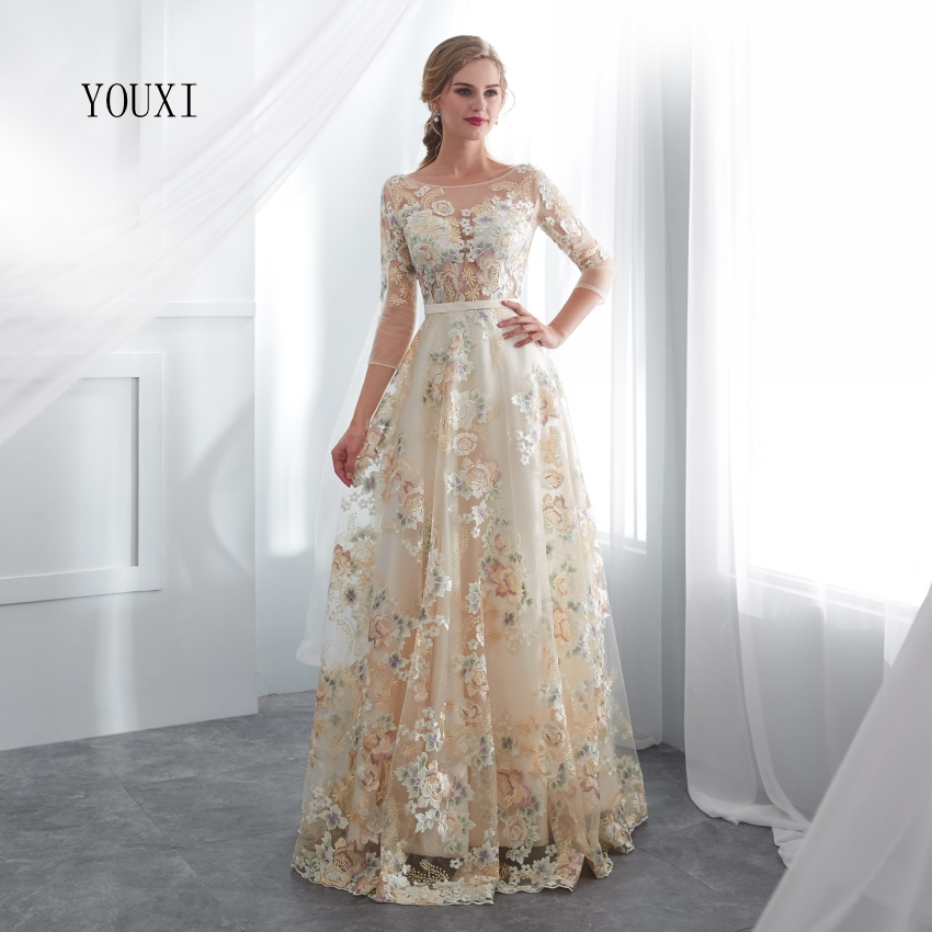 Floral Prom Dresses YOUXI Lace 3/4 Sleeves A-line Champagne Belt Empire Waist Long Evening Gowns Vestido De Formatura