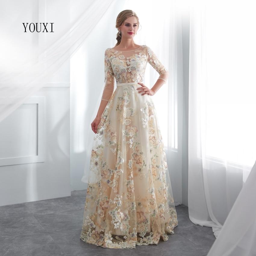 Floral Prom Dresses YOUXI Lace 3/4 Sleeves A-line Champagne Belt Empire Waist Long Evening Gowns Vestido De Formatura