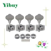 Yibuy 4R Chrome Bass Guitar Machine Heads Sintonizadores/botón del oído de Elefante