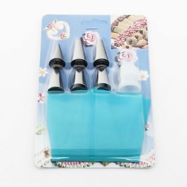 7 pcs Silicone Piping Pastry Bag & 6 pcs Stainless Steel Nozzle Set