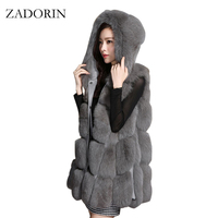 Plus Size 2016 Autumn Winter New Women Faux Fur Coat With Fur Trim Hood Fake Fur