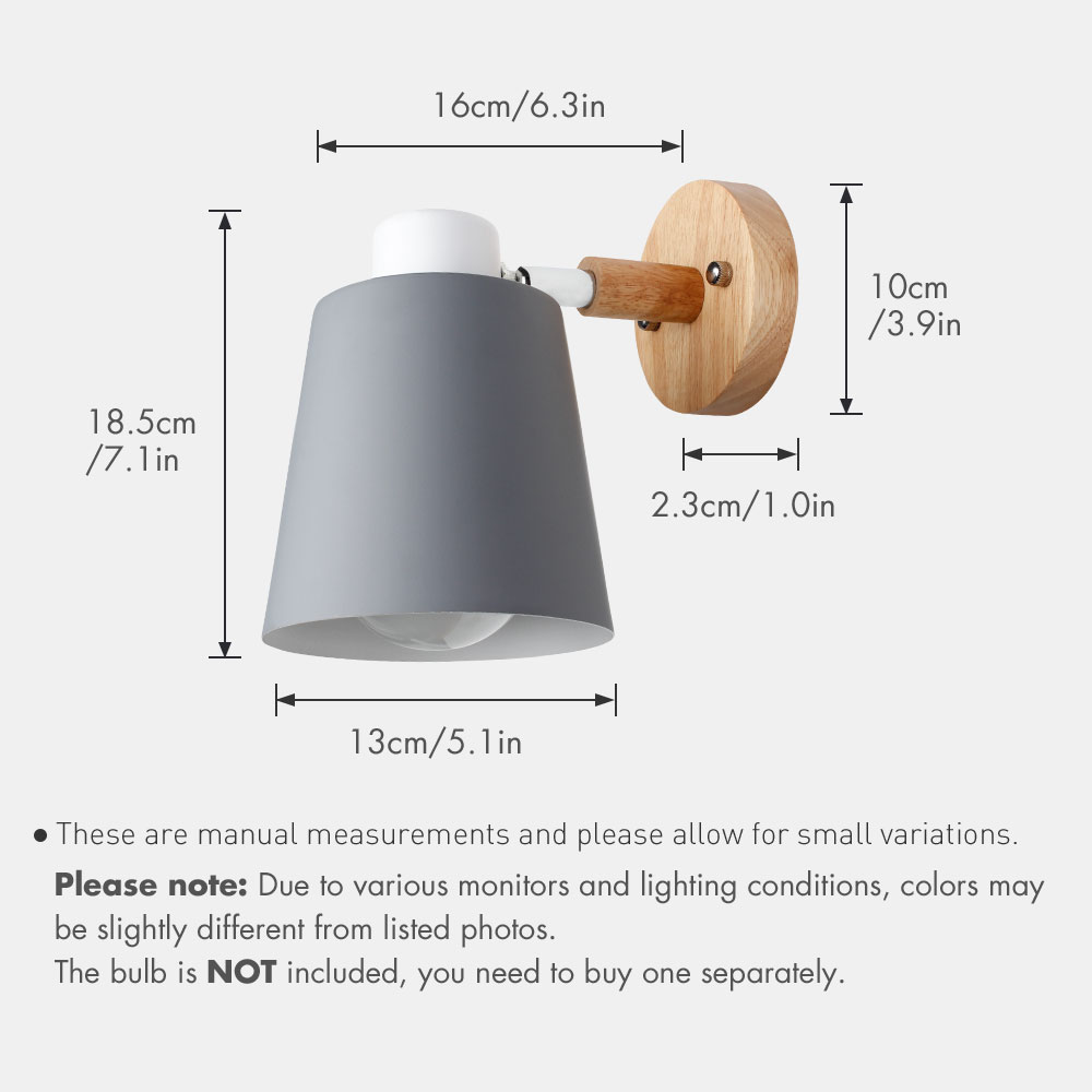 wooden wall lights bedside wall lamp wall sconce modern wall light for bedroom Nordic macaroon 6 color steering head E27 85-285V 3