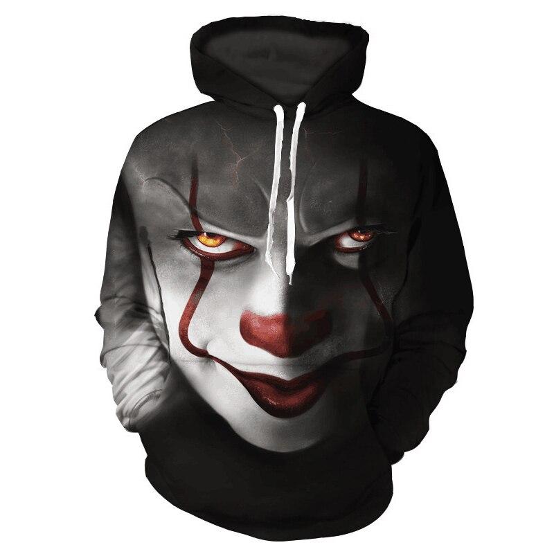 3D Printing Clown Character Boys Jacket Cotton Thin Section Hooded Boys Sweatshirt Casual Loose Drawstring Kids Hoodies