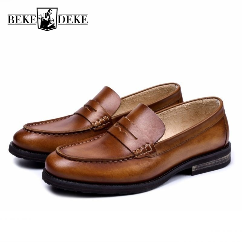 Top Quality Business Man Genuine Leather Casual Shoes New Retro Comfort Slip On Loafers Summer Breathable Low Heel Driving Shoes branded men s penny loafes casual men s full grain leather emboss crocodile boat shoes slip on breathable moccasin driving shoes