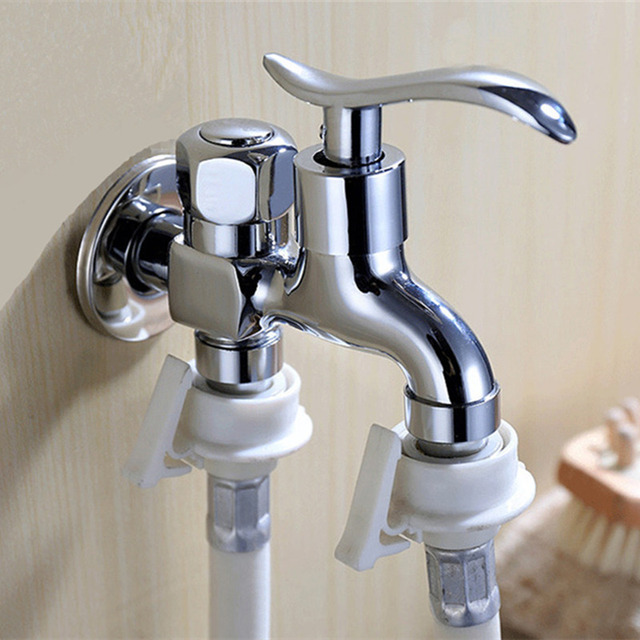 Double Water Outlet Garden Washing Machine Faucet Brass