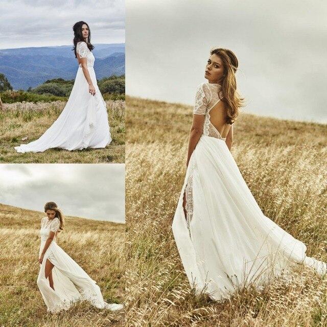 Stunning Beach Bohemian Wedding Dress 2016 Short Sleeve Lace ...